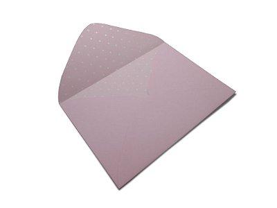 Envelopes 114 x 162 mm - Rosa Verona Decor Bolinhas Branco - Lado Interno