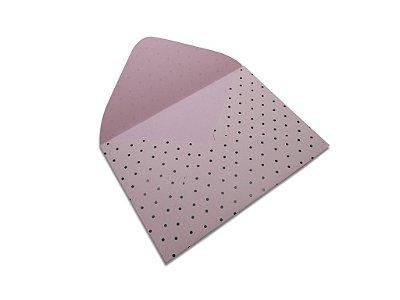 Envelopes 114 x 162 mm - Rosa Verona Decor Bolinhas Preto - Lado Externo