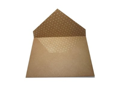 Envelopes 165 x 225 mm - Papel Kraft Decor Bolinhas Brancas - Lado Interno