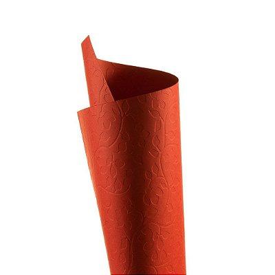Papel Tx Realce Floral Vermelho 30,5x30,5cm com 5 unidades