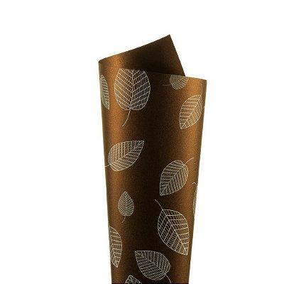 Papel Relux Decor Folhas Rust - Branco 30,5x30,5cm com 5 unidades