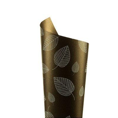 Papel Relux Decor Folhas Café - Branco 30,5x30,5cm com 5 unidades