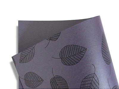 Papel Relux Decor Folhas Ametista - Preto 30,5x30,5cm com 5 unidades