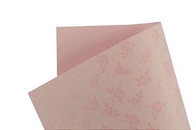 Papel Decor Rosas Rosa Verona - Incolor 30,5x30,5cm com 5 unidades