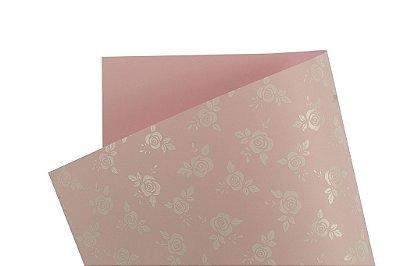 Papel Decor Rosas Rosa Verona - Branco 30,5x30,5cm com 5 unidades