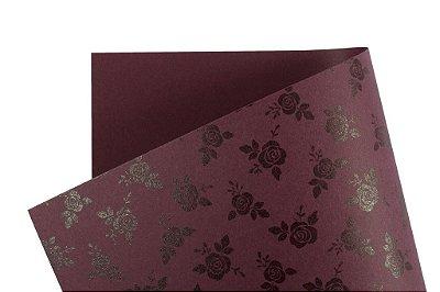 Papel Decor Rosas Mendoza - Preto 30,5x30,5cm com 5 unidades