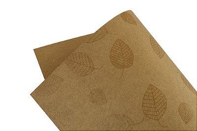 Papel Decor Folhas Kraft - Incolor 30,5x30,5cm com 5 unidades