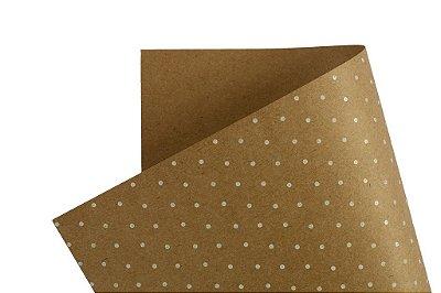 Papel Decor Bolinhas Kraft - Branco 30,5x30,5cm com 5 unidades