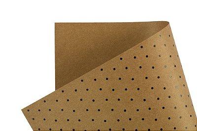 Papel Decor Bolinhas Kraft - Preto 30,5x30,5cm com 5 unidades