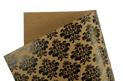 Papel Decor Arabesco Kraft - Preto 30,5x30,5cm com 5 unidades