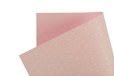 Papel Decor Bolinhas Rosa Verona - Branco 30,5x30,5cm com 5 unidades