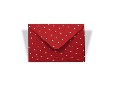 Envelopes visita Vermelho Decor Bolinhas Brancas - Lado Externo com 10 unidades