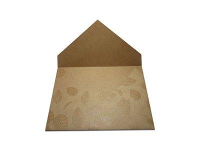 Envelopes convite Papel Kraft Decor Folhas Incolor - Lado Externo com 10 unidades