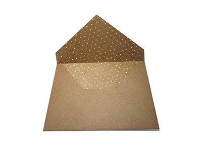 Envelopes convite Papel Kraft Decor Bolinhas Brancas - Lado Interno com 10 unidades