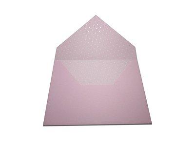 Envelopes convite Rosa Verona Decor Bolinhas Brancas - Lado Interno com 10 unidades