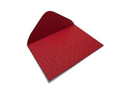 Envelopes carta Vermelho Decor Bolinhas Preto - Lado Externo 10 unidades