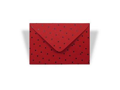Envelopes visita Vermelho Decor Bolinhas Pretas - Lado Externo com 10 unidades