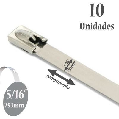 Abraçadeira para Termotape Aço Inox 304 Zip Tie 7,93mm