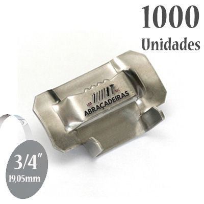 Fecho dentado de Aço Inox 430, 3/4'' (19mm) sem revestimento, pacote com 1000