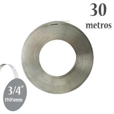 Fita de Aço Inox 304 Lisa, Largura: 3/4'' (19,05mm) x 0,5mm, Rolo com 30m