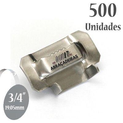 Fecho dentado de Aço Inox 430, 3/4'' (19mm) sem revestimento, pacote com 500