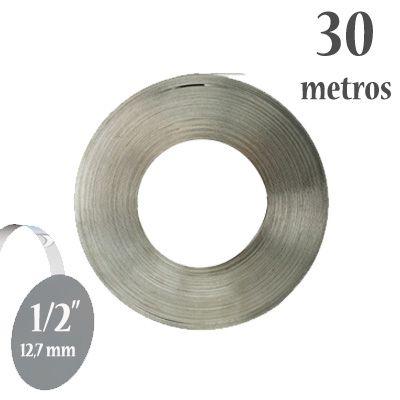 Fita de Aço Inox 304 Lisa, Largura: 1/2'' (12,7mm) x 0,5mm, Rolo com 30m