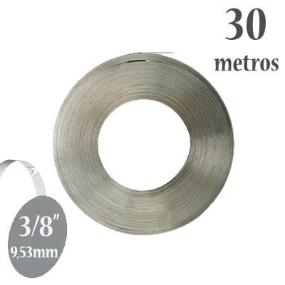 Fita de Aço Inox 304 Lisa, Largura: 3/8'' (9,53mm) x 0,5mm, Rolo com 30m
