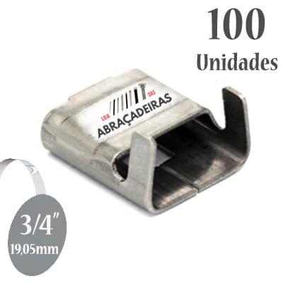 Fecho Liso (Selo VR) de Aço Inox 304, 3/4'' (19,05mm) sem revestimento, pacote com 100