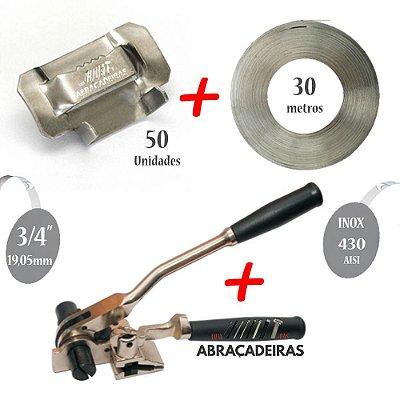 Kit com Maquina de Cintar Poste com Catraca + Fita Inox 430 3/4'' 30m + 50 Fechos Dentado Inox 430 3/4''