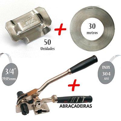 Kit com Maquina de Cintar Poste com Catraca + Fita Inox 304 3/4'' 30m + 50 Fechos Dentado Inox 304 3/4''