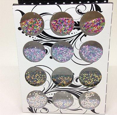 Kit Glitter Flocado Redondo Pequeno - 12 frascos  - 00041