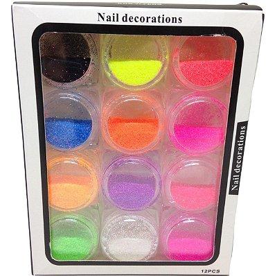 Kit Glitter Fino Neon Colorido - 12 Frascos - 00047