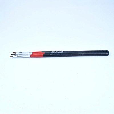 Kit Pincel Nail Art - 3 pçs - Variados - 44443
