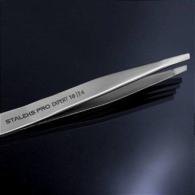 Pinça de Sobrancelha Staleks - Série Expert 10 - Ponta Chanfrada Estreita - TE-10-4