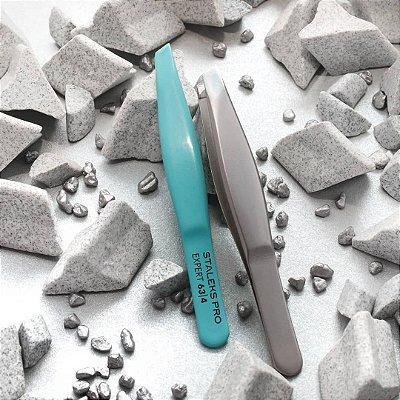 Pinça de Sobrancelha Azul (Mini) Staleks - Série Expert 63 - Ponta Chanfrada - TE-63-4