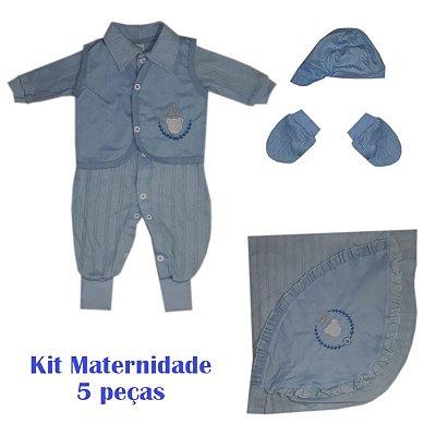 Saída Maternidade Macacão Masculino Azul bebe