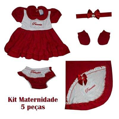 Saída Maternidade Vestido Feminino Vermelha