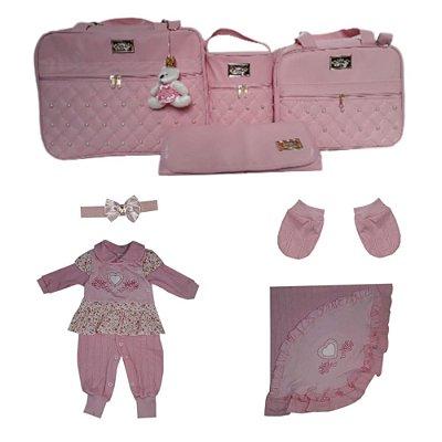 Saída de Maternidade Rosa Bebê Completa mala 8 peças