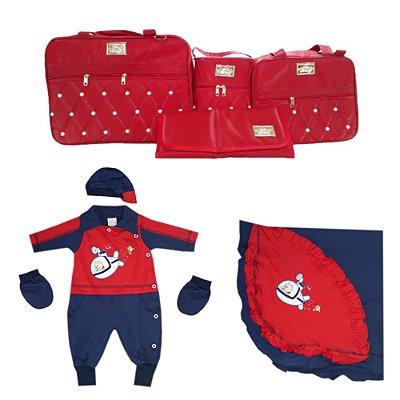 Saída de Maternidade Vermelha Completa kit 8 peças