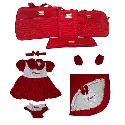 Saída de Maternidade Vermelho Vinho Completa 9 peças Bolsa Luxo