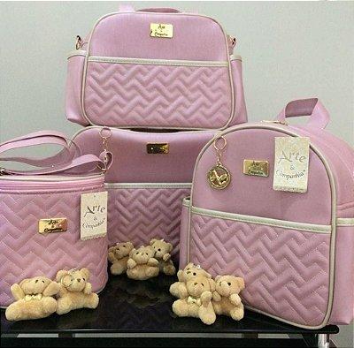 Bolsa Maternidade Rosa 4 peças Super luxo
