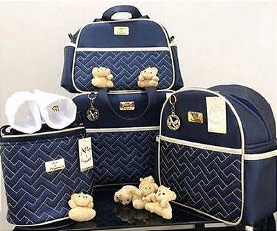 Bolsa Maternidade Marinho 4 peças Super luxo