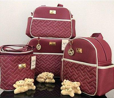 Bolsa Maternidade Vermelho Vinho 4 peças Super luxo