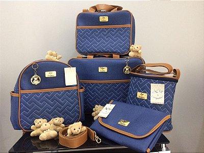 Bolsa Maternidade Azul com Caramelo 5 peças Super luxo