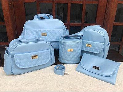 Bolsa Maternidade Azul Bebê Linho 5 peças Super luxo
