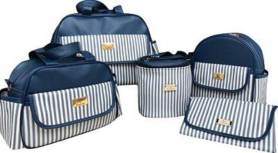 Bolsa Maternidade Azul Marinho Listra 5 peças