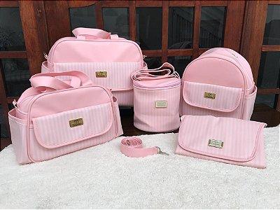 Bolsa Maternidade Rosa Bebe Listra 5 peças