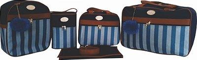 Kit bolsa maternidade 5 peças azul marinho listra