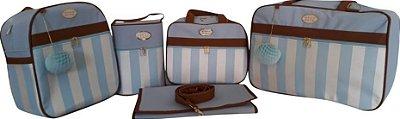 Kit bolsa maternidade Azul Bebe 5 peças listras