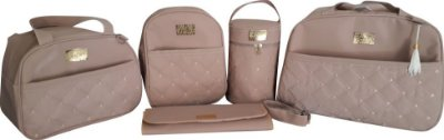 Kit bolsa maternidade 5 peças rosê menina